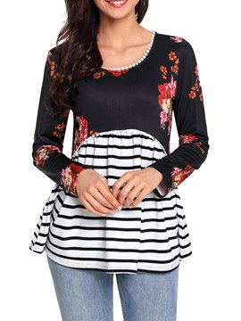 Ericdress Patchwork Print Stripe Long Sleeve Womens T Shirt