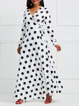 Ericdress V-Neck Polka Dots Lace-Up Maxi Dress