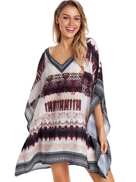 Ericdress Knee-Length Asymmetrical Batwing Sleeve Beach Cover Ups