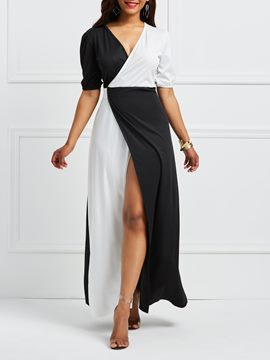Ericdress V-Neck Patchwork Split Half Sleeves Maxi Dress
