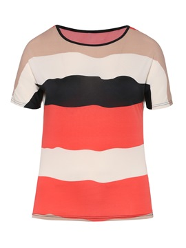 Ericdress Stripe Short Sleeve Color Block Plus Size T-Shirt