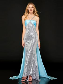 Ericdress Halter Sequin Mermaid Evening Dress