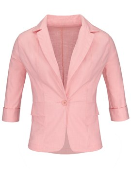 Three-Quarter Sleeve One Button Women's Blazer