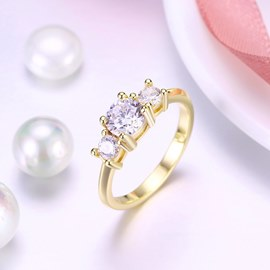 Ericdress Three Rhinestone Wedding Ring