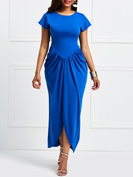 Ericdress Blue Asymmetric Pleated Pullover Casual Dress