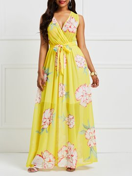 Ericdress Yellow Floral V-Neck Pullover Maxi Dress