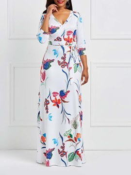 Ericdress Floral V-Neck Milk Fiber Geometric Maxi Dress