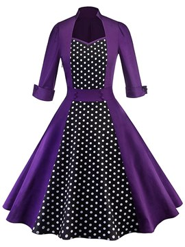 Ericdress Purple Polka Dots Button-Up Vintage A-Line Dress
