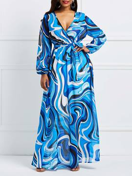 Ericdress Blue V-Neck Lantern Sleeve Print Maxi Dress