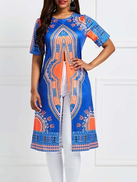 Ericdress African Fashion Crew Neck Dashiki Totem Print Womens T Shirt
