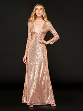 Ericdress Sexy Deep V Neck Sequin Long Sleeve Reflective Evening Dress