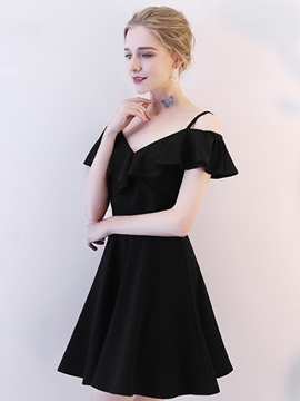 Ericdress Spaghetti Straps Liitle Black Homecoming Dress