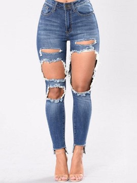 Ericdress Hole Slim Plain Women's Jeans
