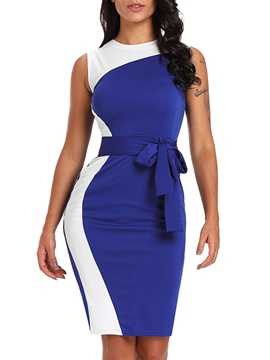 Ericdress Color Block High-Waist Pullover Sexy Bodycon Dress