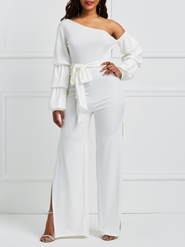Ericdress Asymmetric Sleeves Backless Slit Women's Jumpsuit