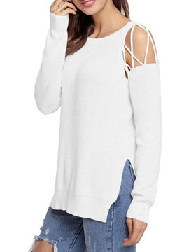 Ericdress Loose Plain Scoop Cold Shoulder Knitwear