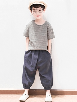 Ericdress Plaid Plain Boy's T Shirts & Casual Pants Outfits