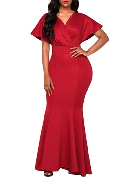 Ericdress V-Neck Batwing Sleeve Backless Bodycon Dress
