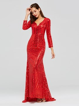 Ericdress Long Sleeve Red Sequin Mermaid Evening Dress