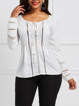 Ericdress Pleated Tie Front Lace Long Sleeve Womens Top