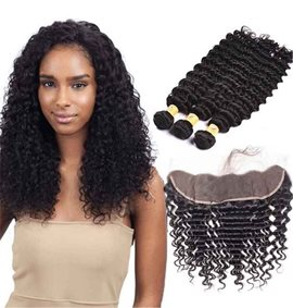 Ericdress Brazilian Virgin Hair Bundles Deep Wave Human Hair Extension 300g + Lace Frontal