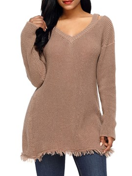 Ericdress Loose Notch-V Plain Womens Knitwear