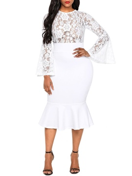 Ericdress Flare Sleeve Ruffles Patchwork Lace Bodycon Dress