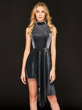 Ericdress High Neck Asymmetry Cocktail Dress