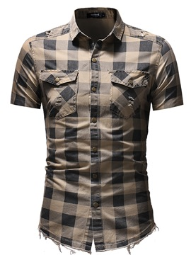 Ericdress Plaid Slim Fitted Short Sleeve Mens Casual Shirts