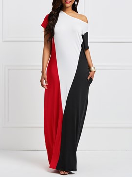 Ericdress Geometric Color Block Patchwork Maxi Dress