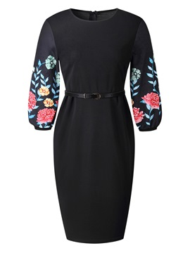 Ericdress Floral Lantern Sleeve Diamond Print Bodycon Dress