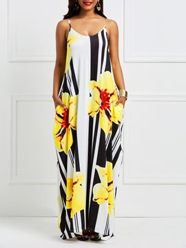 Ericdress Floral Backless Pocket Print Maxi Dress