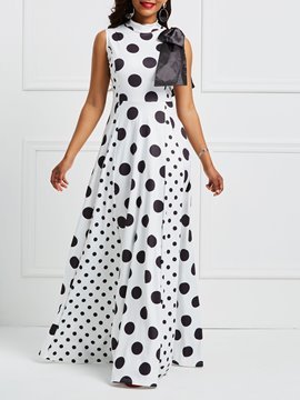Ericdress Polka Dots Stand Collar Print Maxi Dress