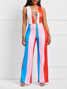 Ericdress Skinny Stripe Color Block Women's Jumpsuit