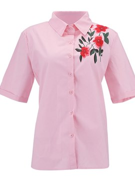 Ericdress Lapel Floral Embroidery Single-Breasted Womens Shirt