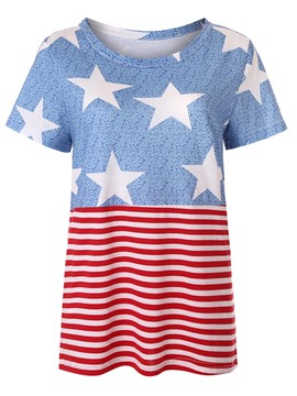Ericdress Stripe Star Print Roll-up Short Sleeve Womens T Shirt