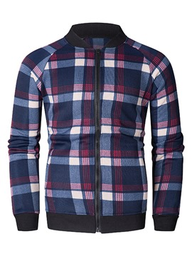 Ericdress Plaid Color Block Zipper Mens Cardigan Hoodies