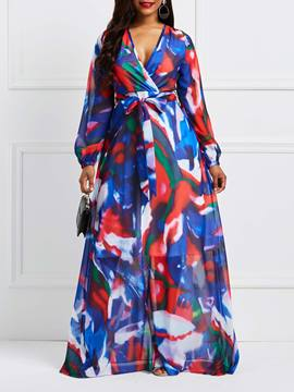 Ericdress V-Neck Tie-Dye Lace-Up Color Block Maxi Dress