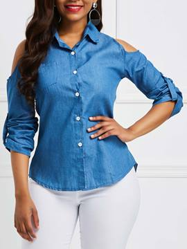 Ericdress Lapel Loose Plain Denim Cold Shoulder Womens Shirt