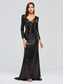 Ericdress Long Sleeve Sequin Black Evening Dress
