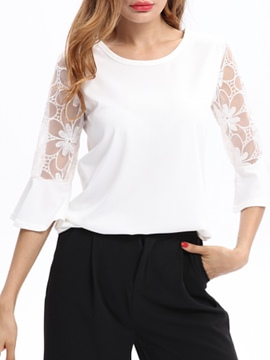 Ericdress Lace Patchwork Loose Flare Sleeve Womens Top