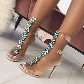 Ericdress Rhinestone See-Through Strappy Stiletto Sandals