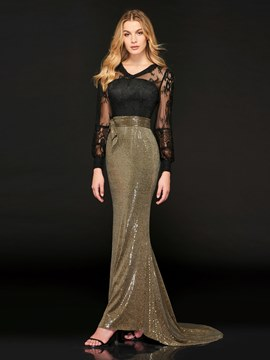 Ericdress Long Sleeve Sequin Mermaid Evening Dress