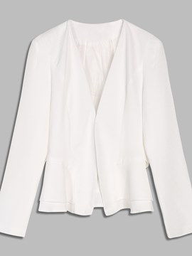 Slim Fit Notched Lapel Ruffle Women's Blazer