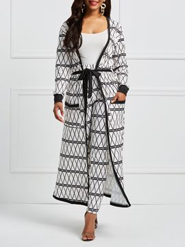 Ericdress Geometric Color Block Trench Coat and Pants Women's Two Piece Set