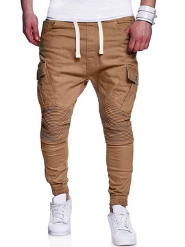Ericdress Plain Lace Up Pocket Straight Mens Casual Pants