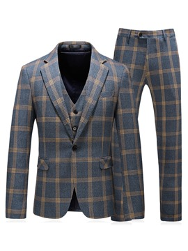 Ericdress Plaid Color Block One Button Mens 3 Piece Casual Suits