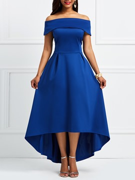 Ericdress Blue Slash Neck Asymmetric Backless Maxi Dress