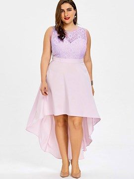 Ericdress Light Pink Asymmetric Patchwork Lace Casual Dress