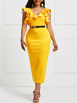 Ericdress Yellow V-Neck Ruffles Patchwork Zipper Bodycon Dress